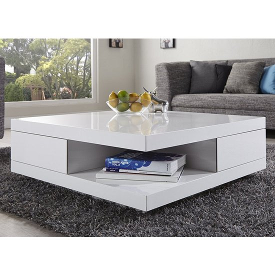 abbey storage coffee table gloss white with 2 pull out drawers