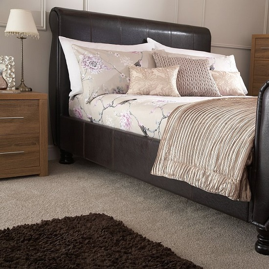 Larson Sleigh Bed In Brown Faux Leather With Wooden Legs