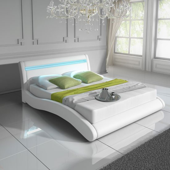 Contemporary King Size Bed In White Pu With Multi Led Light