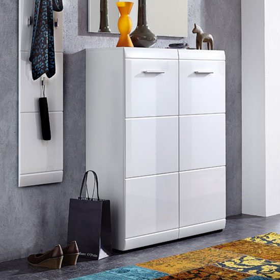 Adrian Wall Mount Shoe Cabinet In White With High Gloss
