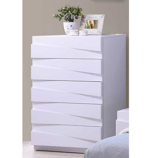 Stirling Chest Of Drawers In White High Gloss With 5