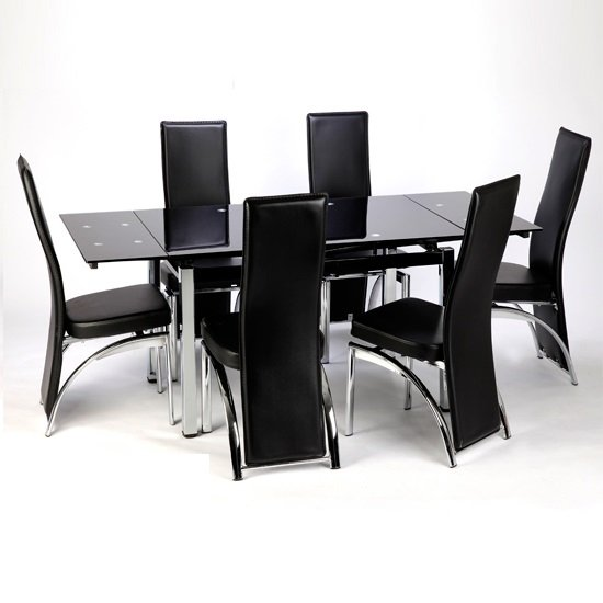 Sarah Extending Glass Dining Table With 6 Romeo Dining Chairs In Black Furniture In Fashion