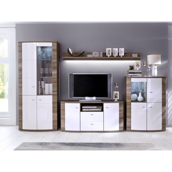 Kaunas Living Room Furniture Set In White Gloss Front And Oak Furniture In Fashion