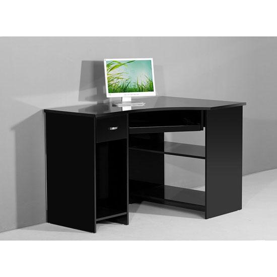 Venus Black High Gloss Corner Computer Desk EBay
