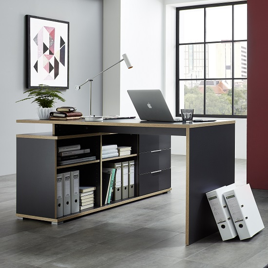 Alantra Wooden Corner Computer Desk In Anthracite With