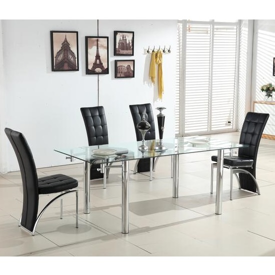 Alicia Extending Glass Dining Table With 6 Ravenna Black Chairs 699 95 Go Furniture Co Uk