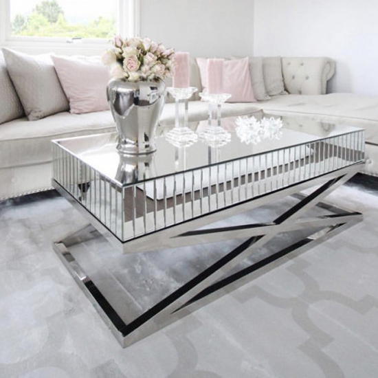 gala mirrored wooden coffee table with silver steel legs