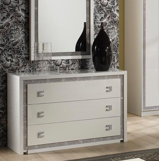 Crystal Chest Of Drawers In White Gloss With Rhinestones