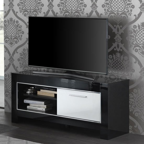 Lorenz Small TV Stand In Black And White High Gloss With 1