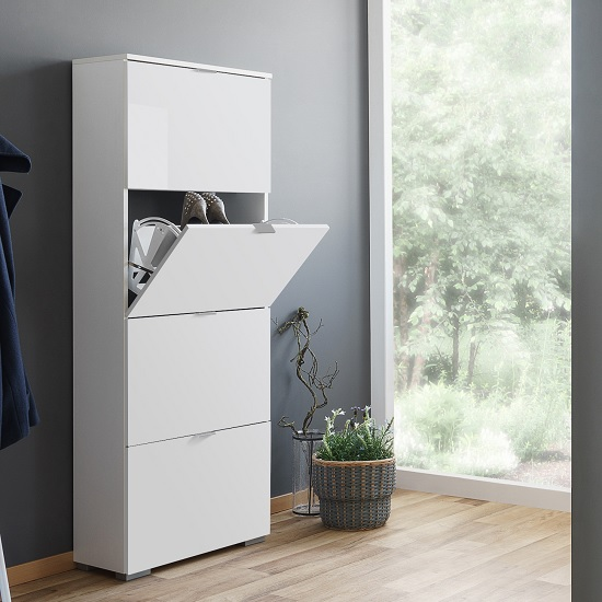 Melone Shoe Cabinet Tall In White And High Gloss Fronts