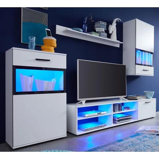 Polar Living Room Furniture Set In White With Led Lighting