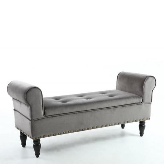 royce ottoman storage chaise in grey velvet with wooden legs
