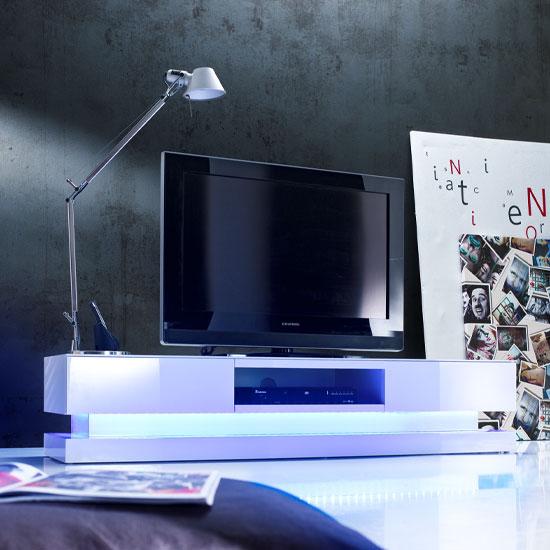 Step High Gloss Plasma Tv Cabinet With Multi Led Lights
