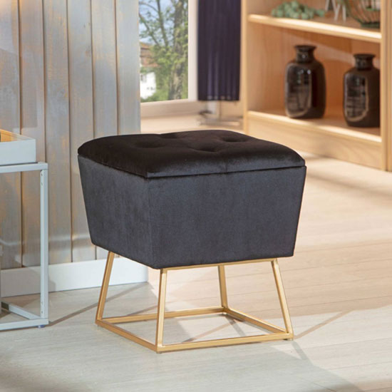 surin fabric storage ottoman stool in black with metal legs