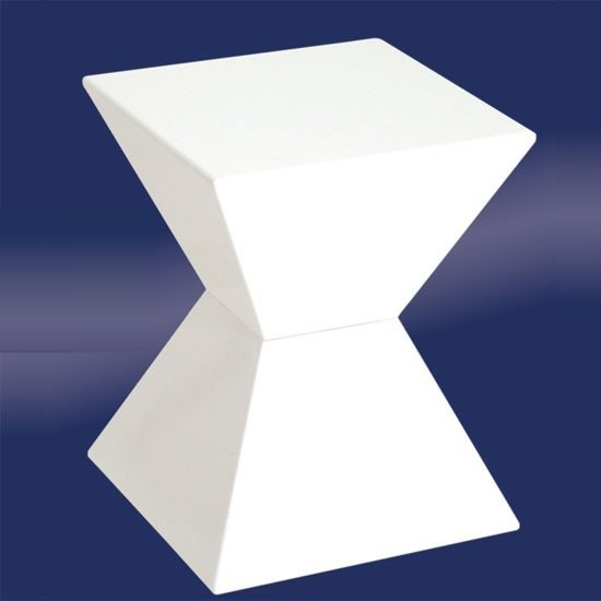 Edge Funky End Table In White High Gloss Lacquered 9592