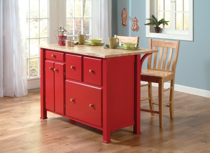 John Thomas Select Kitchen Island By Whitewood In Red