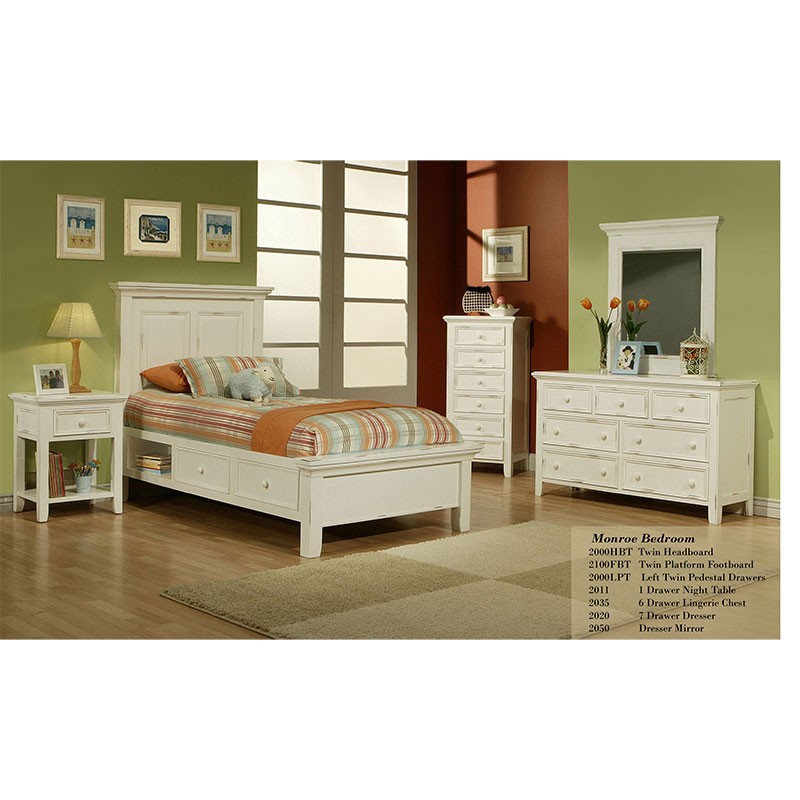 the monroe small space bedroom set has custom finishes and hardware