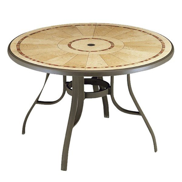 48 round louisiana pietra decor aluminum patio table furniture leisure