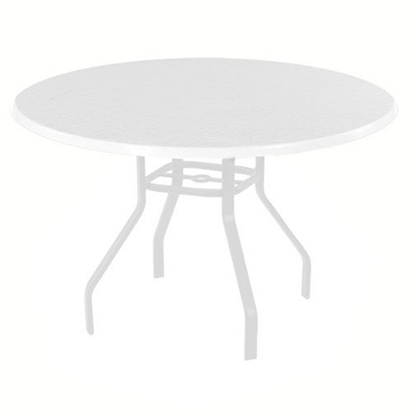quick ship white round fiberglass patio dining table with commercial white aluminum frame 42 or 48 furniture leisure