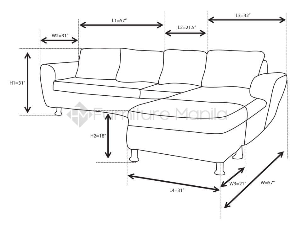Alina L Shaped Sofa With Stool Home Office Furniture Philippines