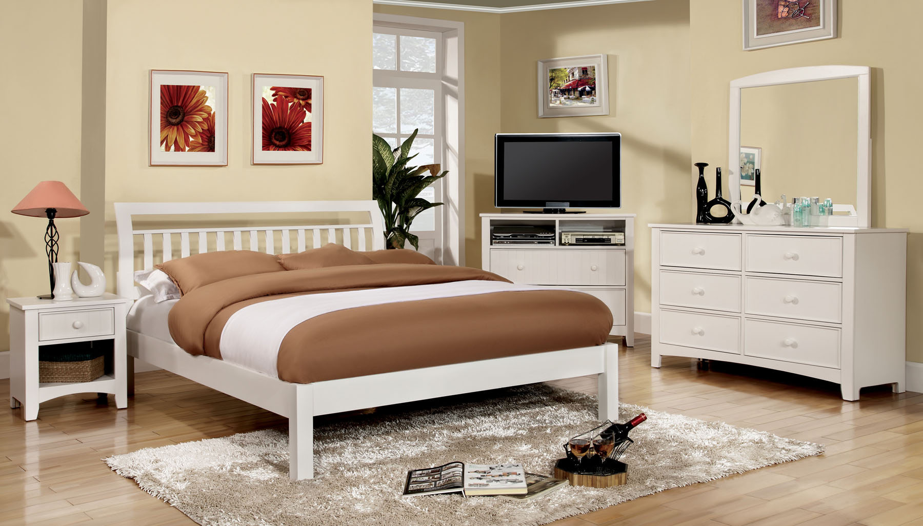Corry CM7923WH 4pc Bedroom Set     Furniture Mattress Los Angeles and     Corry CM7923WH 4pc Bedroom Set