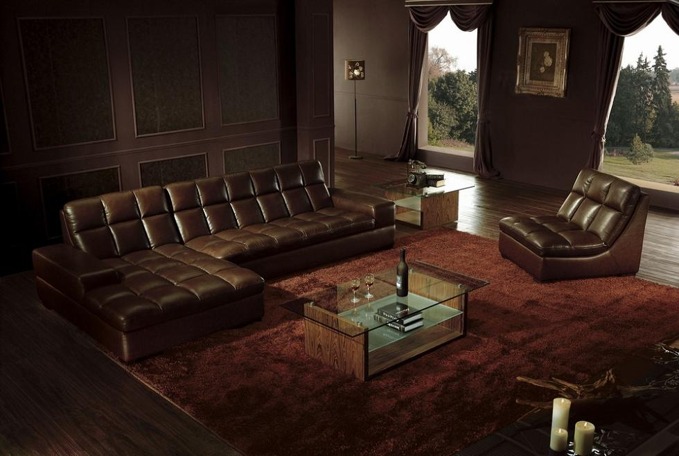 vig divani casa brown leather sectional sofa with chair