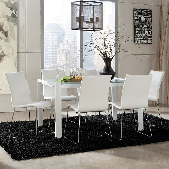 Martina Dining Room Set w/ White Daryl Chairs