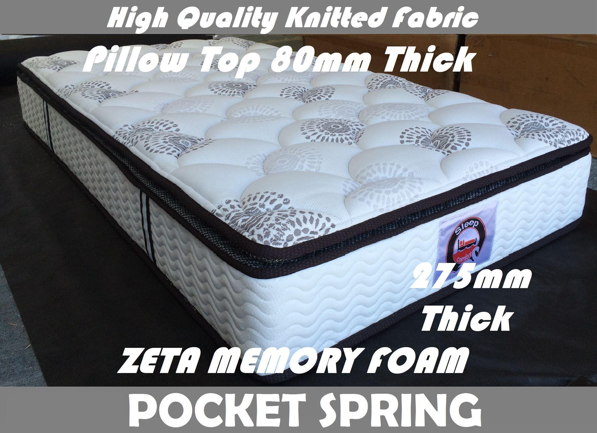 zeta single mattress pocket spring memory foam pillow top