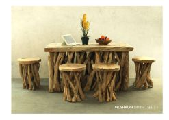 Mushroom Dining Set From Reclaimed Teak Furniture Wholesale