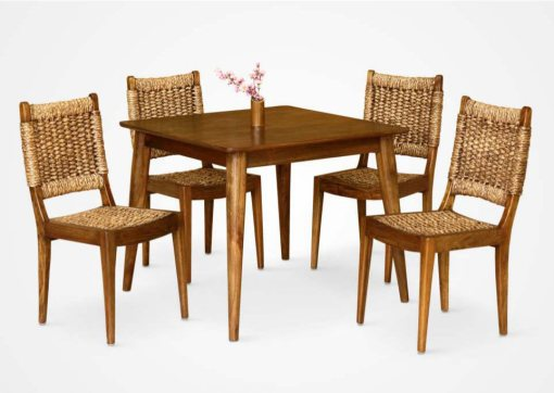 Hazel Dining Set rattan furniture with 4 chair and one table wooden furniture