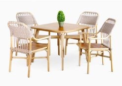 Rancangan Dining Set, Indonesia rattan furniture 4 chairs 1 table