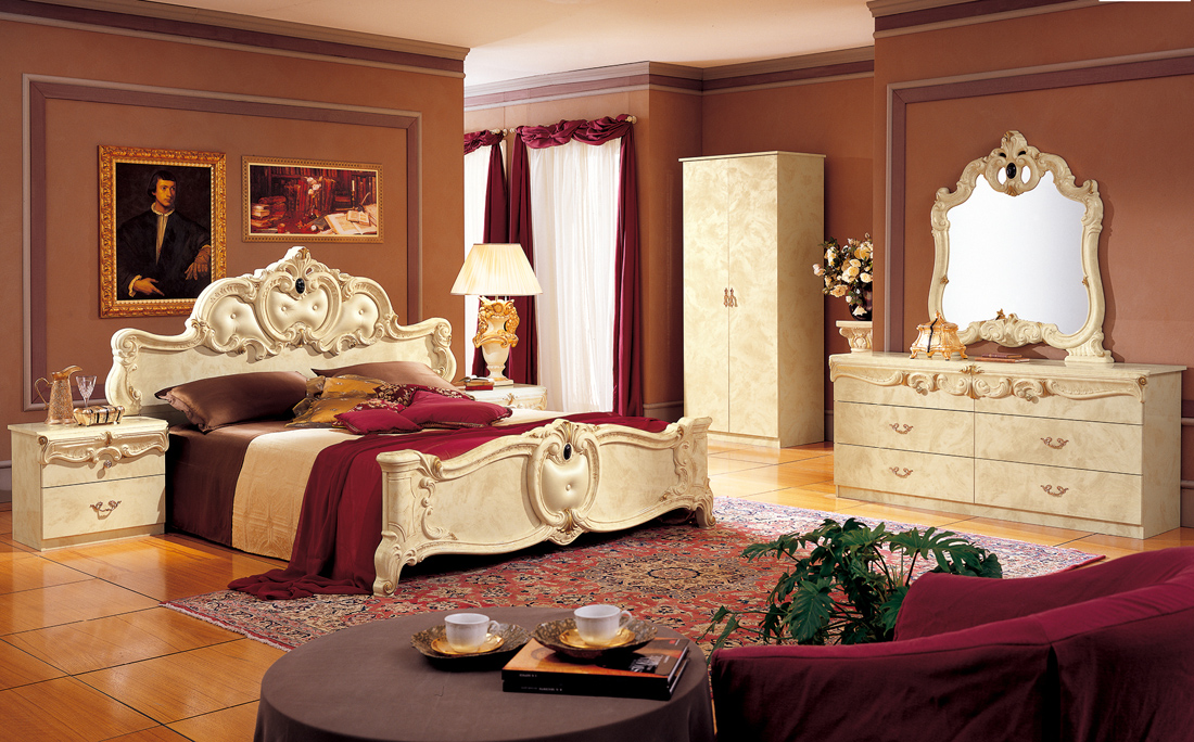 barocco ivory classic italian bedroom set