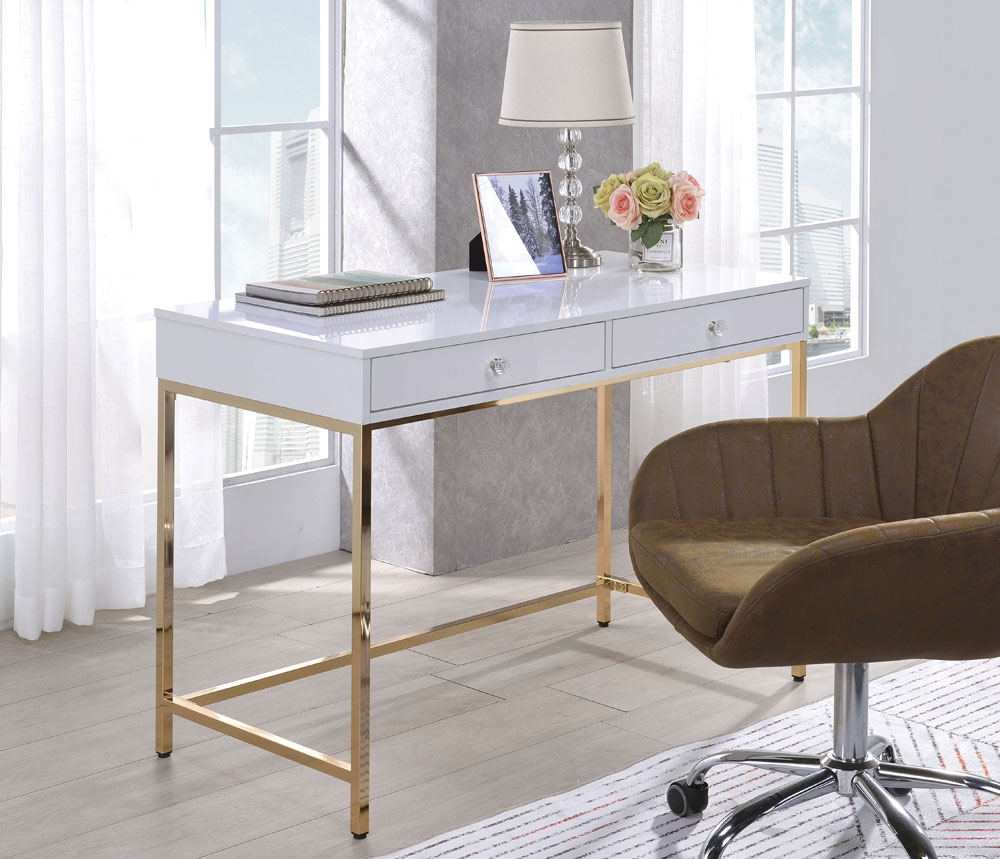 Bester White Lacquer Desk With Gold Finish Base