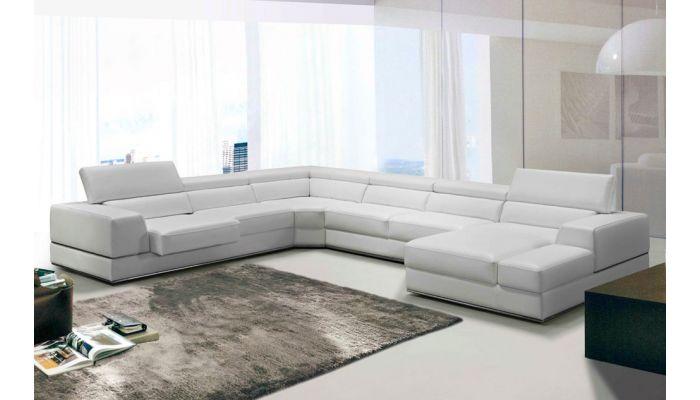 oxana white leather u shape sectional