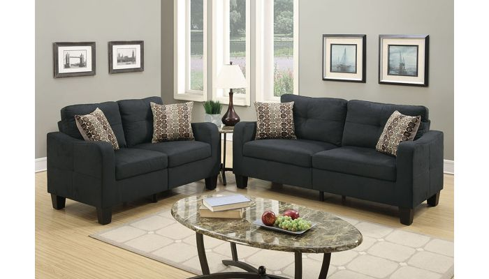 chateau black linen 2 piece sofa set