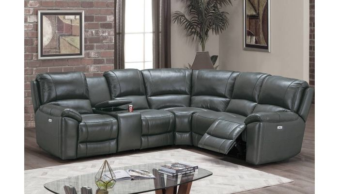 gary power recliner sectional grey top grain leather