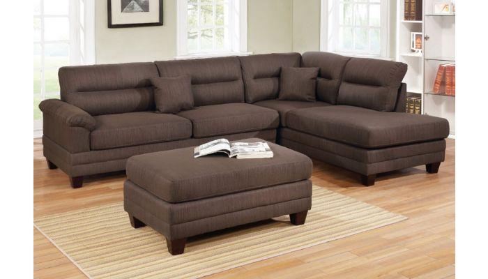 flint dark brown linen sectional set