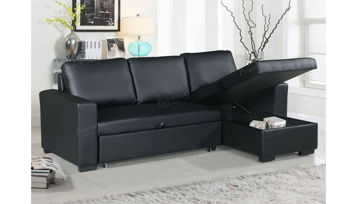 palmer black sectional sleeper with storage