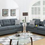 16411 Living Room Sofa Set In Blue Grey Fabric