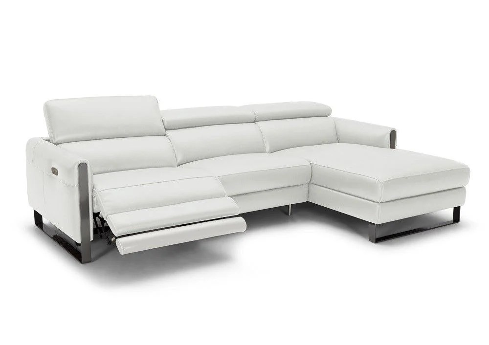 right facing chaise sectional vella in light gray leather