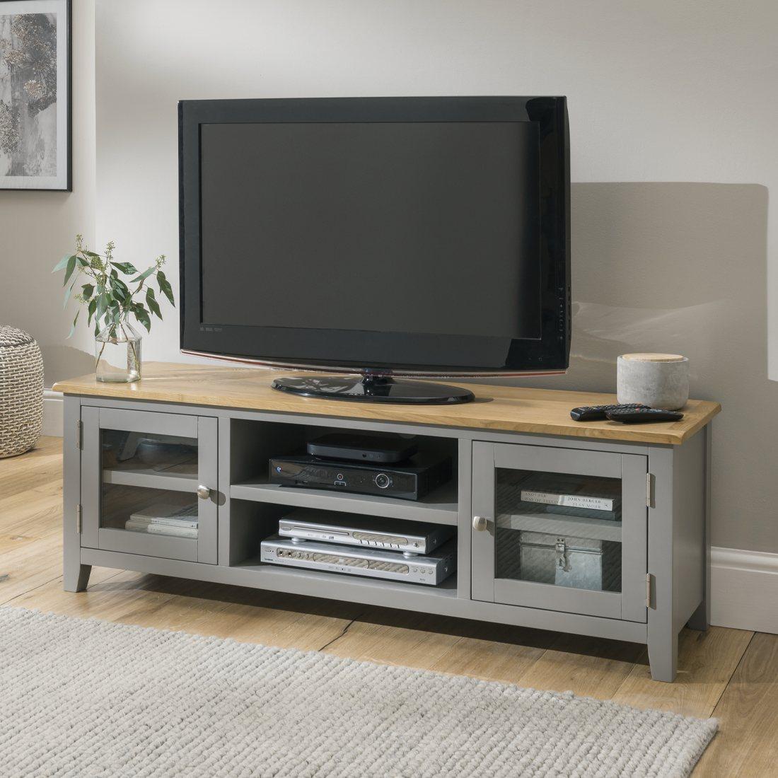 oak city nebraska oak 150cm large tv unit for screens up to 68 moles breath grey furniture world