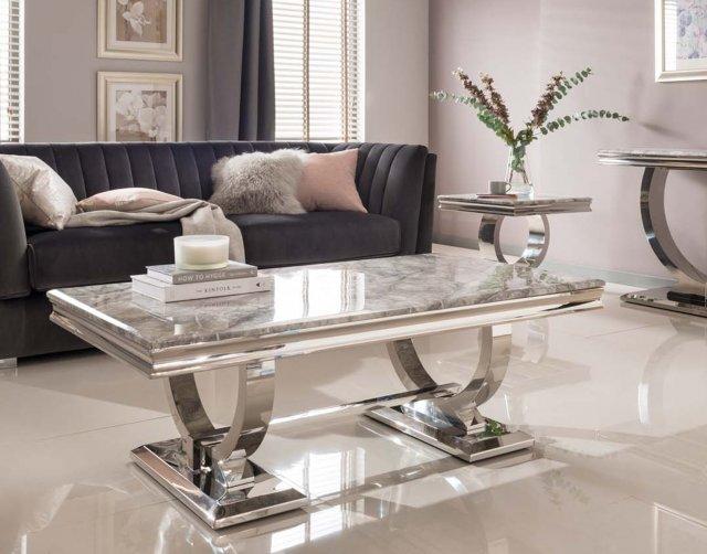 arianna grey marble coffee table furniture world