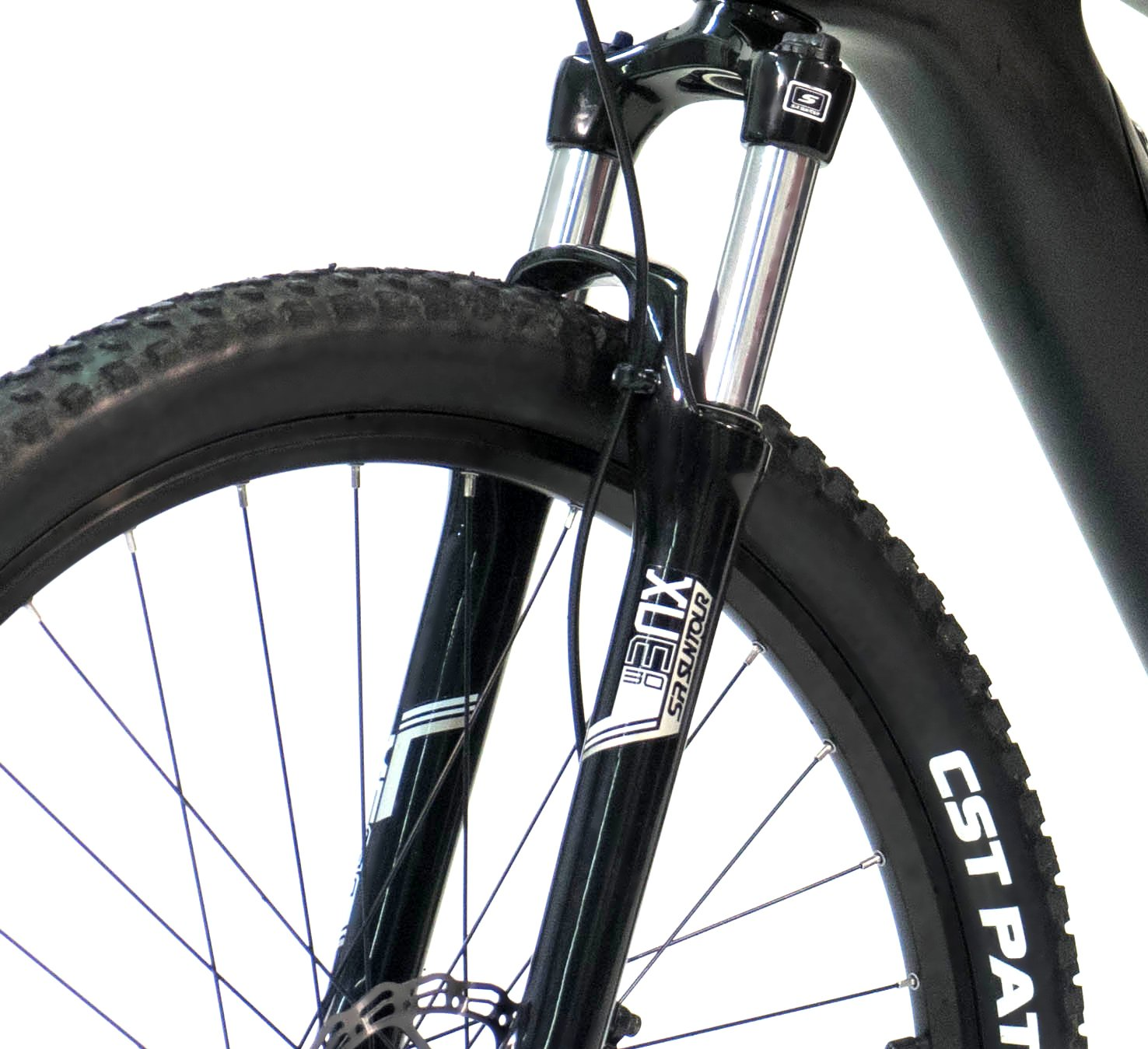 Electric mountain bike front suspension