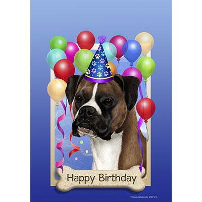 Boxer Fawn Natural Ears Happy Birthday Flag By Tamara Burnett Furrypartners
