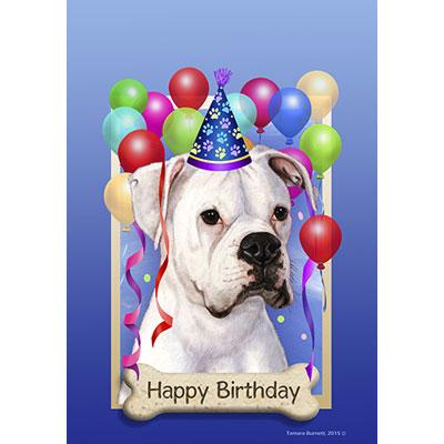 Boxer White Natural Ears Happy Birthday Flag By Tamara Burnett Furrypartners