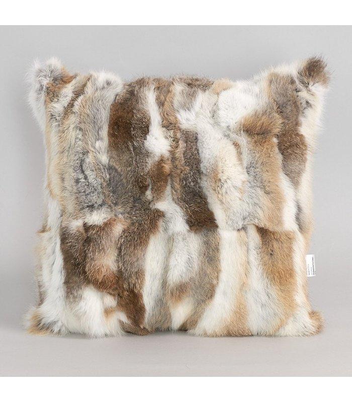 natural brown pieced rabbit fur pillow