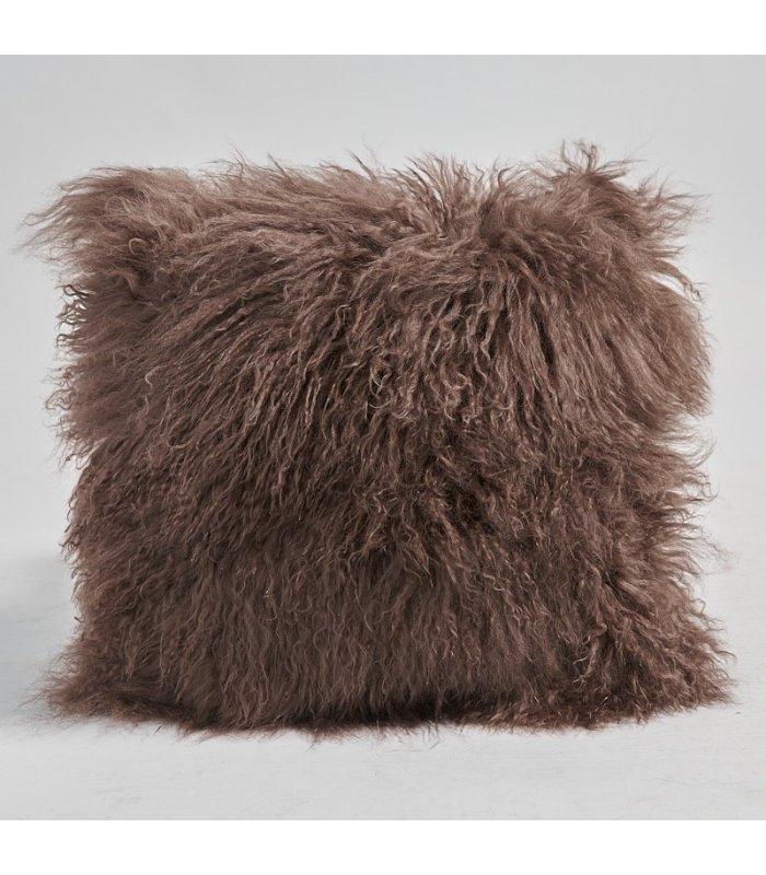brown mongolian lamb fur pillow cushion