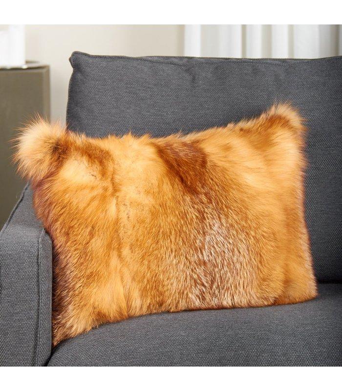 full pelt red fox fur pillow