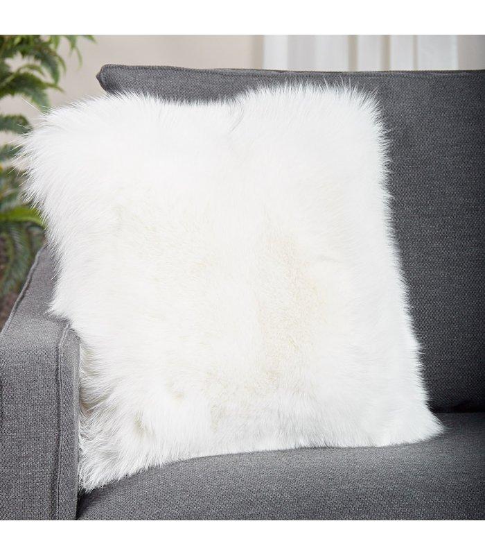 full pelt white fox fur pillow