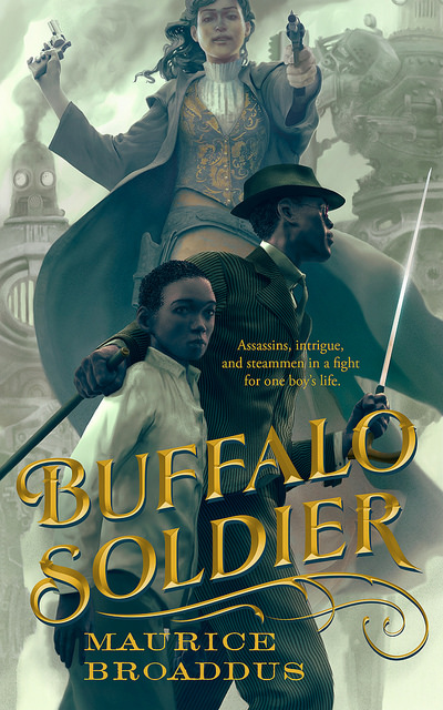 The cover of the fabulous Jamaican Steampunk novella, Buffalo Soldier.
